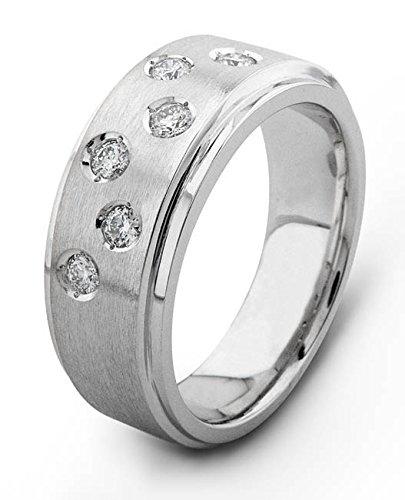 Men's 18 karat white At the price of surprise High quality gold band 0.30 diamond wedding TCW