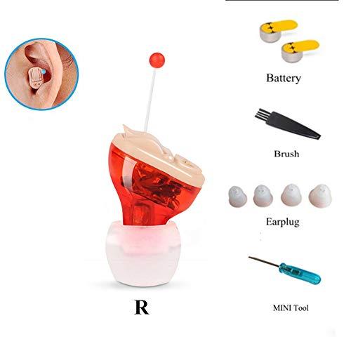 JQBTW Hörverstärker-Lautstärkeregler Unsichtbare Rauschunterdrückung Hörverstärker für Erwachsene Senioren,Red(Right)