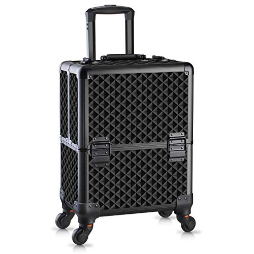 OUDMAY by Amazon - Makeup Case - Professional Folding Trays and Rolling Universal Wheels Cosmetic Storage Organizer with Aluminum Frame Black Diamond Pattern