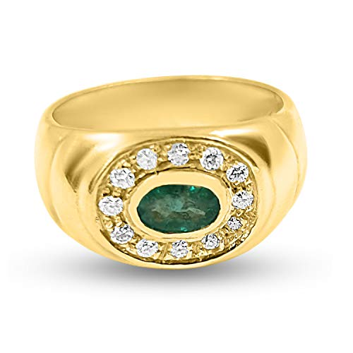 Anillo para mujer de oro amarillo de 18 quilates 750/000 con diamantes 0,12 ct H VS y esmeralda central anillo regalo hombre banda oro
