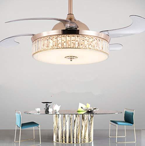 Lámpara de ventilador LED de cristal invisible Lámpara de trip tono de 42 pulgadas Sala de estar Sala de estar Dormitorio Ventilador de techo Lámpara Moderno Minimalista Fan Araña (Color : Gold)