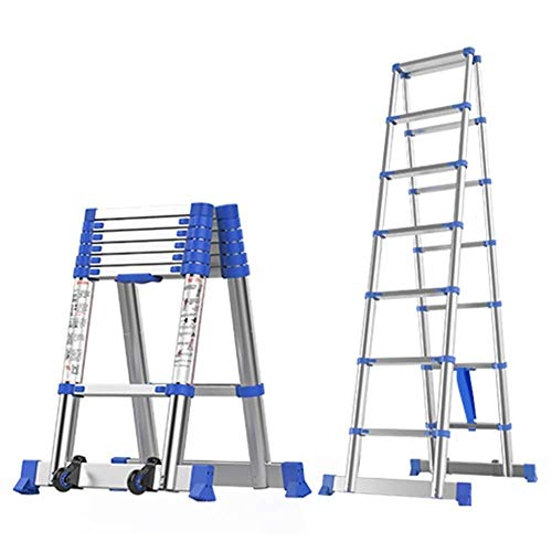 ZSPSHOP Extra Hoge Telescopische Ladder - DIY Aluminium Vouwen Extension Ladder A-Frame, Voor Industrieel Huishouden Dagelijks Of Noodgebruik, Laad 150kg