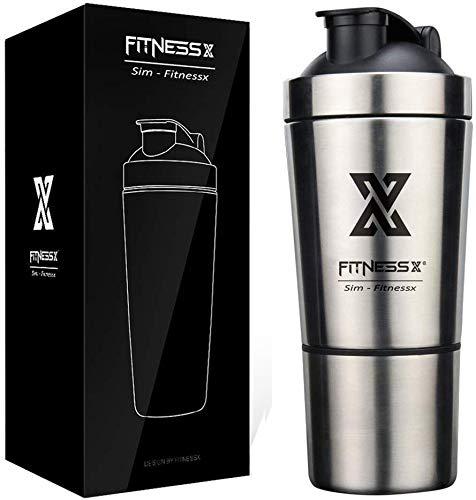 X SIM FITNESSX 700ml/600+200ml Sport Fitness Edelstahl Protein Shaker Eiweiß | eiweiss Proteinshake Bottle (600ml+200ml Pulverfach)