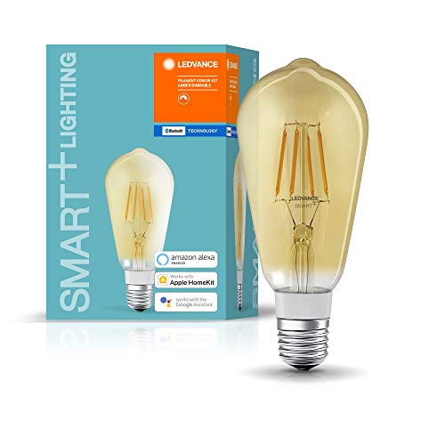 LEDVANCE Lampe LED Smart avec Bluetooth, filament Edison Gold, E27, dimmable,blanc chaud(2400K),remplace les lampes à incandescence par 50W,contrôlable avec Google,Alexa et Apple,SMART+ BT Edison Gold