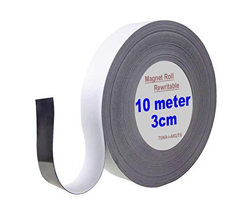 TUKA 10m x 30mm x 1mm Cinta Magnética Reescribible de Etiqueta/Rotular/Marcar, Identificación Imán Rodillo, para Pizarra Blancas, Estante Metálica. Escribir Limpiar Recortar, Blanco TKD9046-3cm