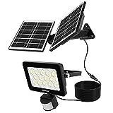Meike - Proyector solar LED, detector de movimiento, lámpara de doble panel solar, 4 W/12 V, súper brillante, 1000 lm, 14 lentes, iluminación exterior de batería, 4000 mAh, luz blanca fría 6000 K