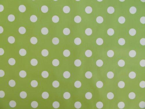 Nappe ovale en PVC/vinyle 140 x 250 cm Vert citron à pois - 8 places