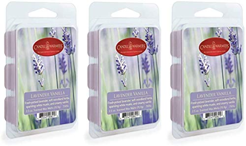 CANDLE WARMERS ETC 3 Pack Soy Wax Blend Classic Fragrance 2.5 oz Wax Fragrance Melt Tart, Lavender Vanilla