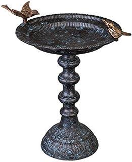 Evergreen Garden Cast Iron Bird Bath on Pedestal
