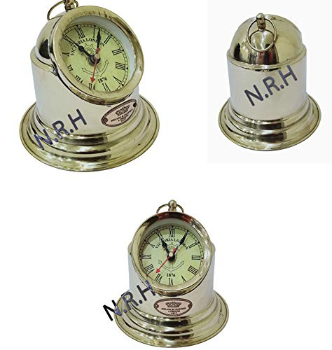 Reloj de mesa náutico con acabado de latón Victoria London 1876, decoración de oficina