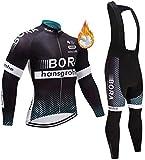 ZLYY Ciclismo de Invierno Camiseta Hombres, Incluyendo Ropa de Ciclismo Transpirable Ropa de Ciclo Plus (Color : Black-1, Size : L)