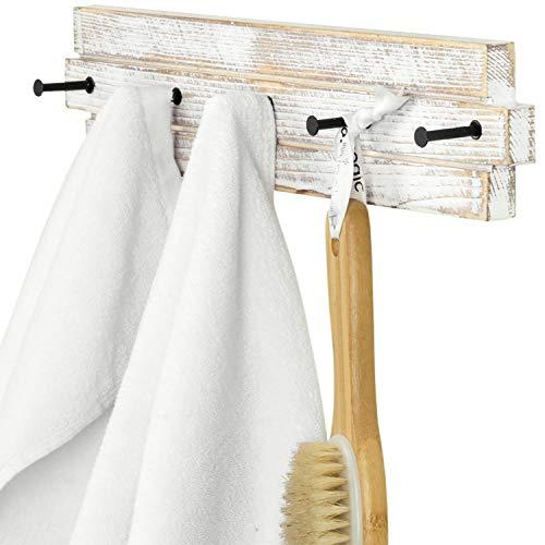 MyGift 5 Hook Shabby Chic White Washed Wood & Black Metal Bathroom Hand Towel Holder Wall Mounted Storage Rack