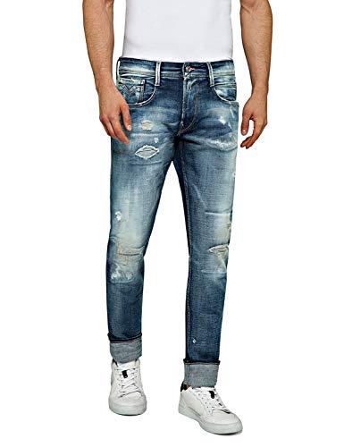 REPLAY Anbass Vaqueros Slim, Azul (Medium Blue 9), W31/L34 (Talla del Fabricante: 31) para Hombre