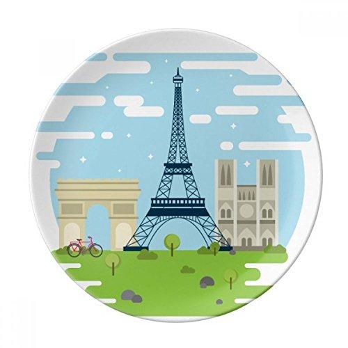 DIYthinker Tour Eiffel France Point de repère Illustration décorative Porcelaine Assiette à Dessert 8 Pouces Dîner Accueil Cadeau 21cm diamètre Multicolor
