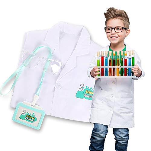 Lab Coat for Kids Scientist Costume with Goggle and Personalized ID Card for Science Projects and Experiments (9-12Years)