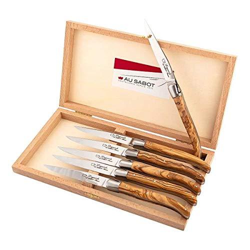 Au sabot Lot de 6 Couteaux à Steak en Bois d'olivier avec mâchoires en Acier Inoxydable Mat dans Une boîte en Bois