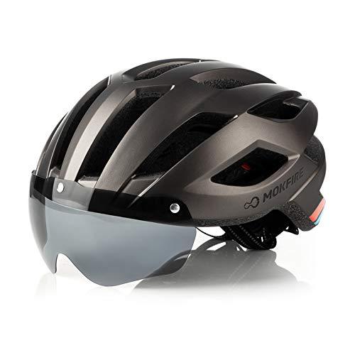 MOKFIRE Casco de Bicicleta de montaña con luz Trasera LED de Seguridad...