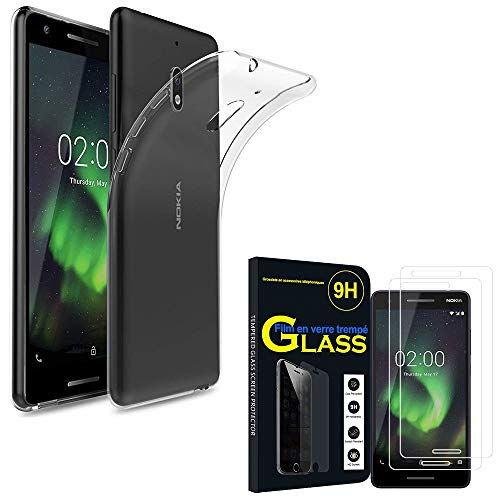 """ANNART Coque pour Nokia 2.1 (2018) 5.5"""", Coque Silicone Gel Souple Ultra Fine + 2 Films Verre trempé Couleur Transparent pour Nokia 2.1 (2018) 5.5"""""""