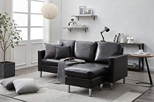 YRRA 3 plazas Sofá con Tejido de Tela de Manos Sofá Gris para Sala de Estar Sofá Moderno de Esquina de sofá con Chaise Reversible (Tela Gris Claro)-Piel sintética Negra