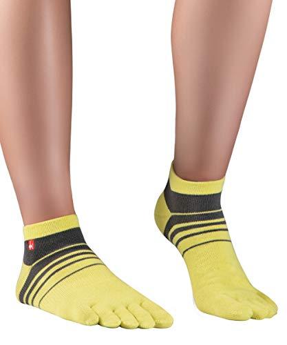 Knitido Track&Trail Spins Calcetines deportivos con dedos de hombre y mujer, para deporte, running y zapatos de cinco dedos, Talla:43-46, Colores:amarillo / antracita (901)