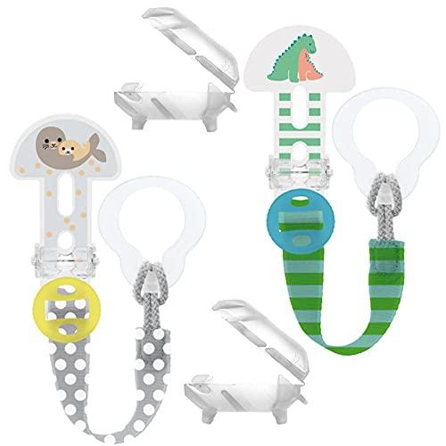 MAM Clip it ! Fashion & Cover Schnullerband Schnullerkette mit Saugerschutz // 2er Set Boy // längenverstellbar, waschbar
