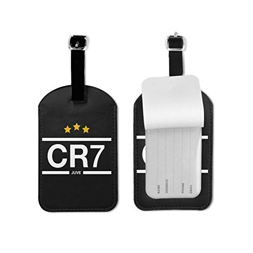 Cr7 Luggage Tags Suitcase Card Holder Bag Tag Name Address ID Bag Label Microfiber PU Leather 2.7inchx4.3inch