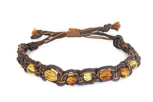 Hand Made Raw Baltic Amber Bracelet for Men (Braun, Bernstein)