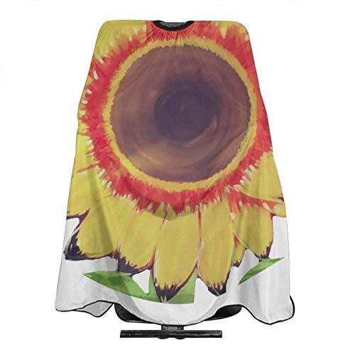 Capa de peluquería con diseño de flores de sol, impermeable, para salón profesional, longitud completa, con cierre a presión, para colorear el cabello