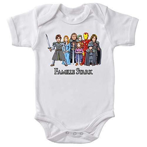 Body bébé manches courtes Blanc parodie Iron Man - Eddard, Catelyn, Robb, Sansa, Arya, Brian, Rickon et Tony Stark - La Famille Stark au complet ! (Body bébé de qualité supérieure de taille 18