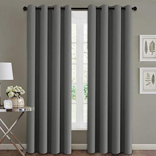 H.Versailtex Blackout Room Darkening Curtains Window Panel Drapes - (Grey Color) - 2 Panels -52 inch Wide by 84 inch Long Solid Pattern, Grommet Top