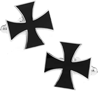 Knights Templar Black Cross Design Cufflinks Silver Cuff Links BLK