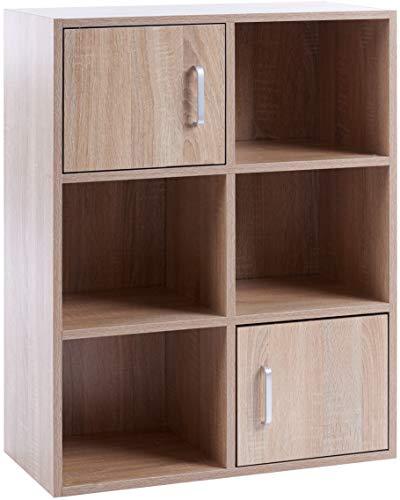 ts-ideen Standregal Bücherregal Sideboard Buchregal Holz Eiche Sonoma Modern mit Türen