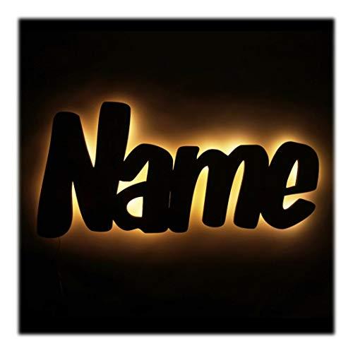 Holz Nachtlicht Kinder-Lampe aus Wunsch Namen als Taufgeschenk Baby-Geschenke Geburtsgeschenk Kinder-Zimmer für die Mutter Paten-Tante Junge Jungs Mädchen individuell personalisiert