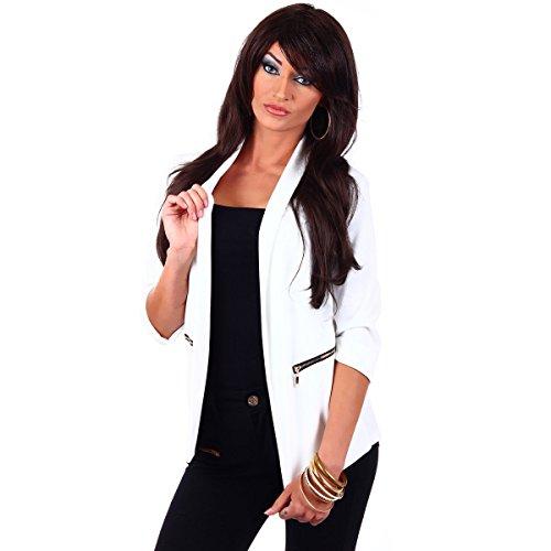 Fashion4Young 10744 Damen Kurzjacke Blazer Jäckchen Jacke knopflos mit Reverse Gr.36/38 (S/M=36/38, Weiß)
