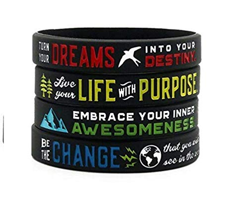 11thGear 4 Pulseras de Pulseras de Silicona de Cita Positiva Motivacional - Inspire Live Purpose Embrace Your Awesomeness