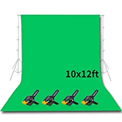 Contents: 10 x 12 ft Green Screen Muslin Backdrop, 4 x Backdrop Clamps Green chromakey muslin cloth, nice soft non reflective surface This Green screen background used to product photography, video backdrops and portraits Clamps come with the item to...