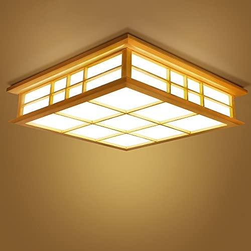 LED Lámpara de Techo JapónTatami Luz de techo Cuadrado salón Lámpara de madera Para Habitacion Cocina Sala de Estar Dormitorio Pasillo Comedor Foco LED para techo [Clase de eficiencia energética A+]