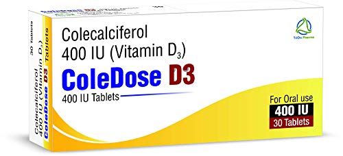 Vitamin D 400 IU –Equivalent to 10 mcg - ColeDose D3, Premium Vitamin - Easy Swallow 30 Tablets- One a Day