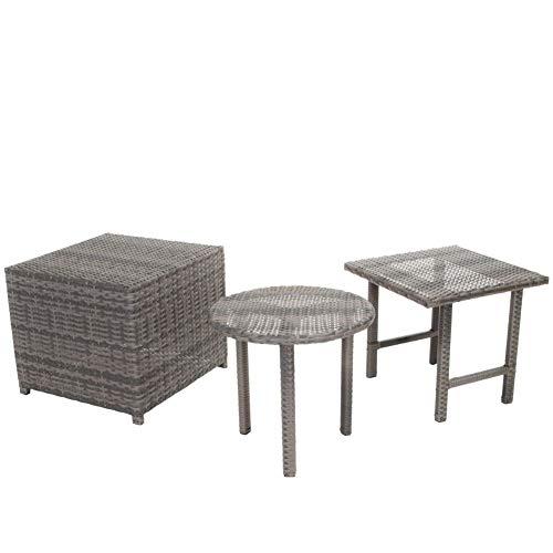 Christopher Knight Home Palmilla Wicker Table Set, 3-Pcs Set, Grey