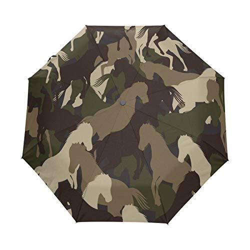 SUHETI Regenschirm Taschenschirm,Camouflage Pferdemuster,Auf Zu Automatik,windsicher,stabil