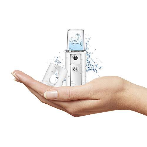 Humidificador portátil - Difusor de tamaño de bolsillo, ambientador, humidificador de viaje   Ultra silencioso para sueño profundo   Iluminación suave   Ligero y USB Recarga