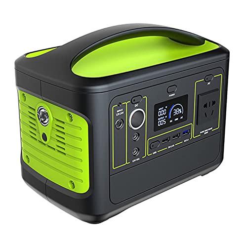 ALX-Dec Central eléctrica 568Wh 153600mAh Generador de Camping al Aire Libre Lithium-Batterie 500W / Peak 1000W,Verde
