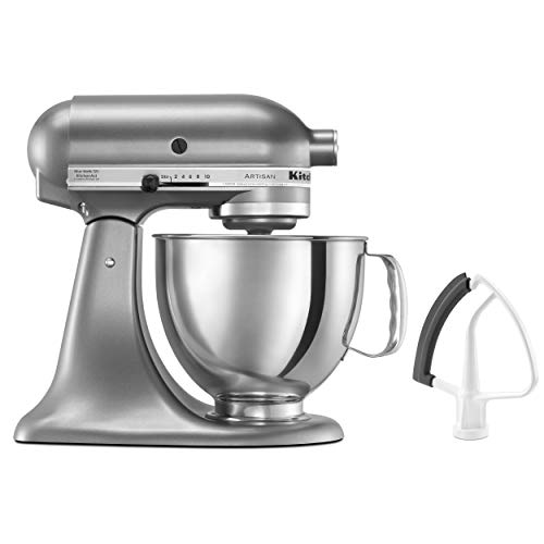 KitchenAid KSM150FECU Artisan Bundle Stand Mixers, 5夸脱,轮廓银