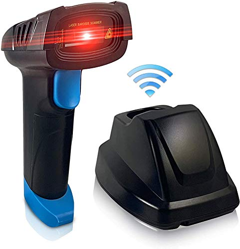 Central Essentials Wireless Barcode Scanner with USB Charging Cradle - UPC Scanner Gun 3-in 1 - USB 1D Barcode Scanner Cordless Wired Portable Laser Automatic Handheld Barcode Reader for Inventory