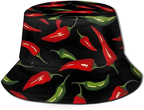KEROTA Chocolate Doodles Adulto Pescador Sombrero Cubo Sombrero Plegable Sombrero De Pescado Hombres Mujeres Adolescentes Chile Pimientos Arte Caliente 5
