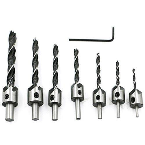 Yakamoz 7pcs HSS Countersink Drill Bits Set Screw Woodworking Chamfer Tool, 3-10mm