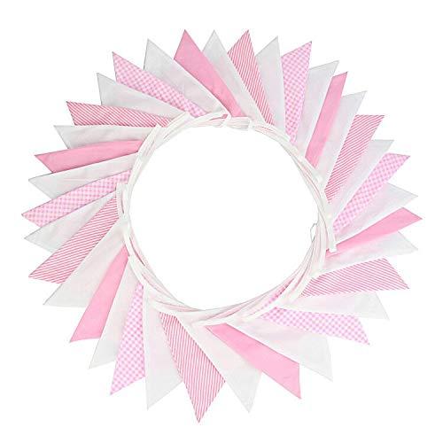 G2PLUS 5.5 M Schöne Wimpelgirlande Se Bunting Wimpelkette Farbenfroh Wimpeln mit 24 Anhänger Fahnen für Party Draußen (Rosa)