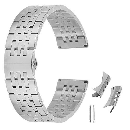 20 millimetri bracciale orologio resistente solida in acciaio inox per la vigilanza degli uomini di sport metal band stile giubilare in argento