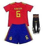 FFF Copa Mundial de Fútbol Camiseta de la selección, la Copa Mundial de 2018 NO.6 Camiseta Shorts, Manga Corta + Calcetines/niño de tamaño estándar,Rojo,18