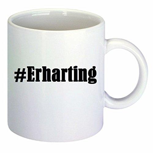Kaffeetasse #Erharting Hashtag Raute Keramik Höhe 9,5cm ? 8cm in Weiß